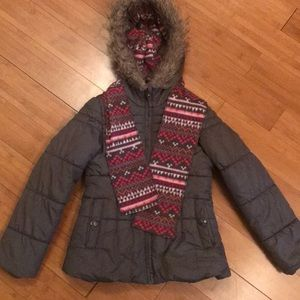 Girls Winter Jacket with matching scarf